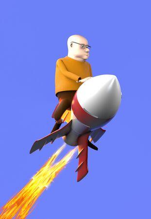 The man on a rocket,cartoon style,3d render. 版權商用圖片 - 149836767