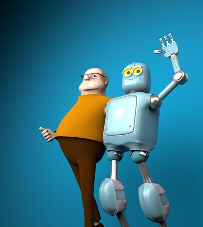 The robot and man friend, artificial intelligence training