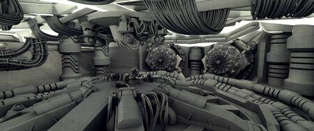 Science fiction spaceship interior, interstellar travel, 3D Rendered Illustration 版權商用圖片