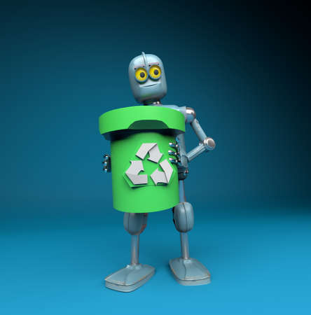The retro robot with recycle trash bin.separate waste collection environmental protection concept.3d render 版權商用圖片 - 155169167