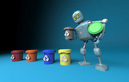 The retro robot with recycle trash bin.separate waste collection environmental protection concept.3d render