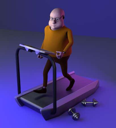The man running on a treadmill, neon background, 3d render. 版權商用圖片