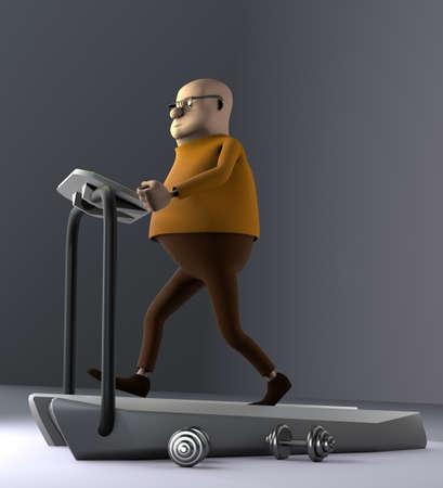 The man running on a treadmill, 3d render. 版權商用圖片
