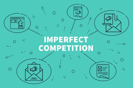 Conceptual illustration with the words imperfect competition