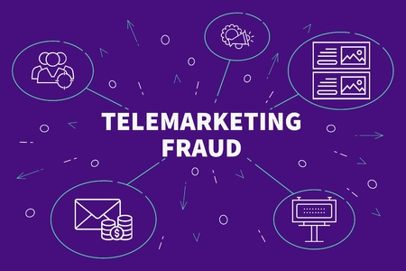 Conceptual illustration with the words telemarketing fraud