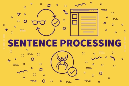 Conceptual illustration with the words sentence processing 스톡 콘텐츠