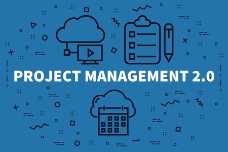 Conceptual illustration with the words project management 2.0 Banco de Imagens