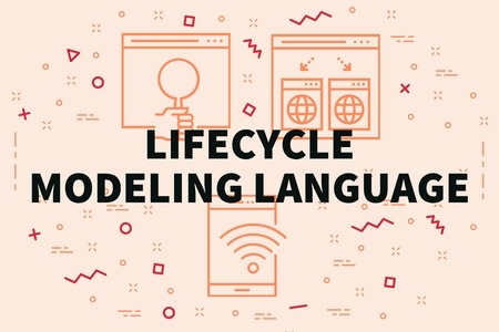 Conceptual illustration with the words lifecyle modeling language