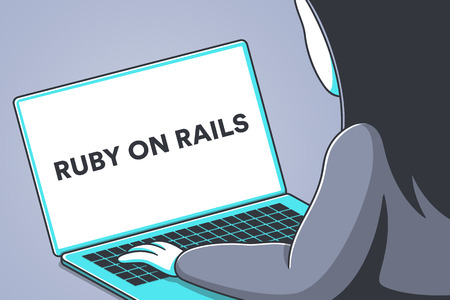 Laptop screen with the words ruby on rails