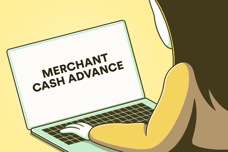 Laptop screen with the words merchant cash advance