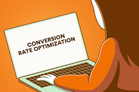 Laptop screen with the words conversion rate optimization