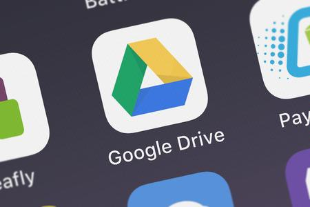 London, United Kingdom - September 29, 2018: Screenshot of the Google Drive mobile app from Google, Inc. icon on an iPhone.