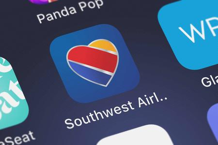 London, United Kingdom - September 29, 2018: Close-up shot of Southwest Airlines Co.s popular app Southwest Airlines.