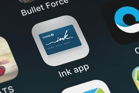 London, United Kingdom - September 29, 2018: Close-up shot of the Ink® app application icon from JPMorgan Chase  Co. on an iPhone. Publikacyjne