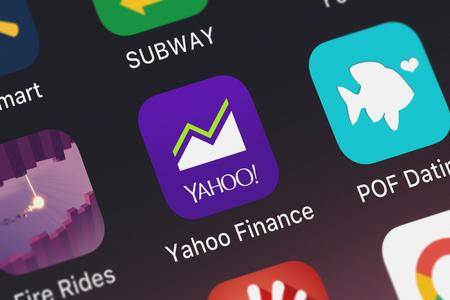 London, United Kingdom - September 29, 2018: Icon of the mobile app Yahoo Finance from Yahoo on an iPhone.