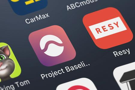 London, United Kingdom - September 29, 2018: Close-up shot of the Project Baseline application icon from Google, Inc. on an iPhone.