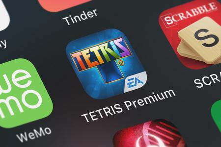 London, United Kingdom - September 29, 2018: Icon of the mobile app TETRIS® Premium from Electronic Arts on an iPhone. Editorial