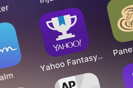 London, United Kingdom - September 29, 2018: Close-up shot of Yahoos popular app Yahoo Fantasy Football  more. Editorial