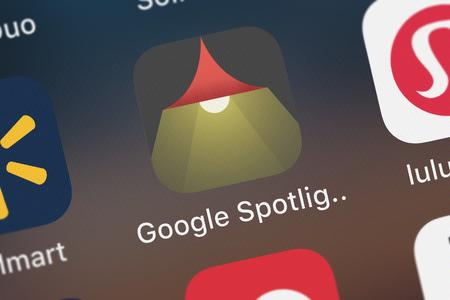 London, United Kingdom - September 29, 2018: Icon of the mobile app Google Spotlight Stories from Google, Inc. on an iPhone.