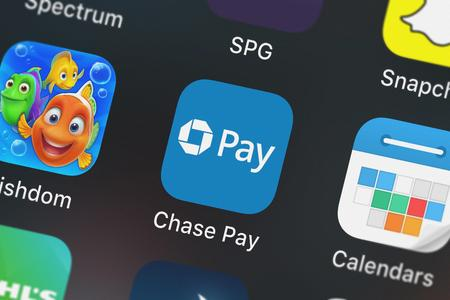 London, United Kingdom - September 29, 2018: Close-up of the Chase Pay®  Earn, Save, Order icon from JPMorgan Chase  Co. on an iPhone.