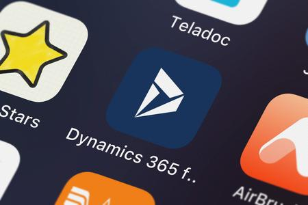 London, United Kingdom - September 29, 2018: The Dynamics 365 for phones mobile app from Microsoft Corporation on an iPhone screen.
