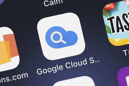 London, United Kingdom - September 29, 2018: Close-up of the Google Cloud Search icon from Google, Inc. on an iPhone.