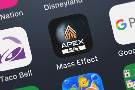 London, United Kingdom - September 29, 2018: Close-up shot of the Mass Effect: Andromeda APEX HQ mobile app from Electronic Arts.