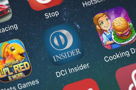 London, United Kingdom - September 29, 2018: Close-up shot of the DCI Insider mobile app from Discover Financial Services. 에디토리얼