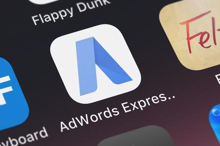 London, United Kingdom - September 29, 2018: Close-up shot of the AdWords Express application icon from Google, Inc. on an iPhone.