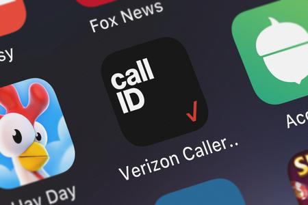 London, United Kingdom - September 29, 2018: Close-up shot of the Verizon Caller Name ID mobile app from Verizon Wireless. Sajtókép