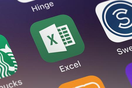 London, United Kingdom - September 29, 2018: Close-up shot of the Microsoft Excel mobile app from Microsoft Corporation.