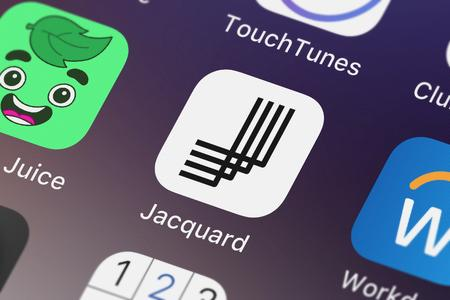 London, United Kingdom - September 29, 2018: Close-up shot of the Jacquard by Google application icon from Google, Inc. on an iPhone.