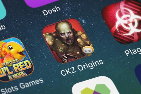 London, United Kingdom - September 30, 2018: Close-up of the CKZ Origins icon from Glu Games Inc on an iPhone. Editorial
