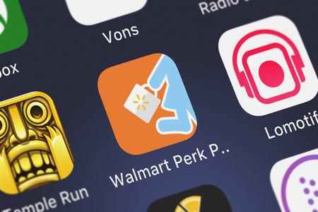 London, United Kingdom - September 30, 2018: Close-up shot of the Walmart Perk Pick Up mobile app from Walmart. Editorial