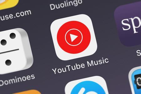 London, United Kingdom - September 29, 2018: Screenshot of Google, Inc.s mobile app YouTube Music. Editorial