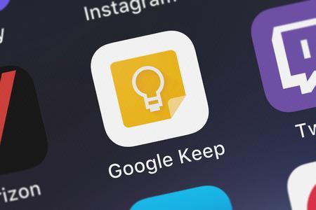 London, United Kingdom - September 29, 2018: Close-up shot of Google, Inc.'s popular app Google Keep. Stok Fotoğraf - 116933044