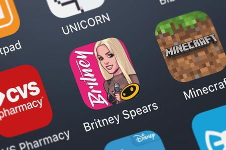 London, United Kingdom - September 30, 2018: Icon of the mobile app Britney Spears: American Dream from Glu Games Inc on an iPhone.