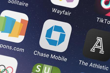 London, United Kingdom - September 29, 2018: Close-up shot of JPMorgan Chase  Co.s popular app Chase Mobile.