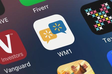 London, United Kingdom - September 30, 2018: Screenshot of Walmart's mobile app WM1. Editorial