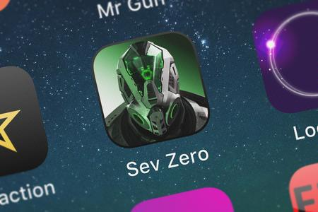 London, United Kingdom - September 30, 2018: Close-up shot of the Sev Zero: Air Support application icon from AMZN Mobile LLC on an iPhone.