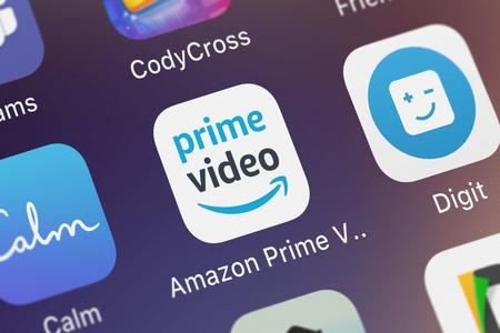 London, United Kingdom - October 03, 2018: Close-up shot of the Amazon Prime Video application icon from AMZN Mobile LLC on an iPhone.