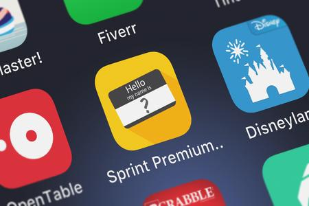 London, United Kingdom - October 03, 2018: The Sprint Premium Caller ID mobile app from Sprint on an iPhone screen.