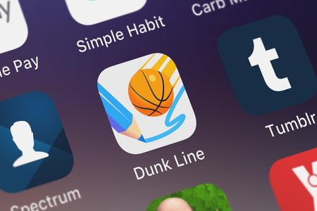 London, United Kingdom - October 03, 2018: Close-up shot of the Dunk Line application icon from Ketchapp on an iPhone.