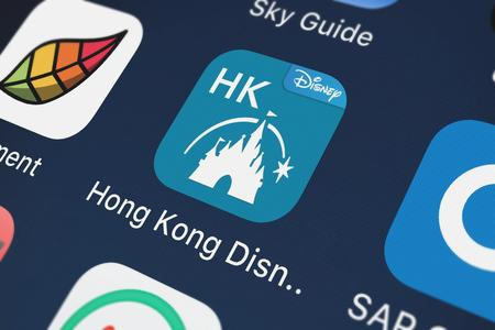 London, United Kingdom - October 03, 2018: The Hong Kong Disneyland mobile app from Disney on an iPhone screen. Editorial