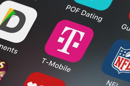 London, United Kingdom - October 03, 2018: Screenshot of the T-Mobile mobile app from T-Mobile icon on an iPhone.