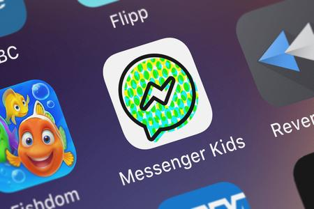 London, United Kingdom - October 03, 2018: Screenshot of the mobile app Messenger Kids from Facebook, Inc..