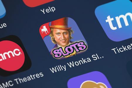 London, United Kingdom - October 03, 2018: Screenshot of Zynga Inc.'s mobile app Willy Wonka Slots Vegas Casino. Editorial
