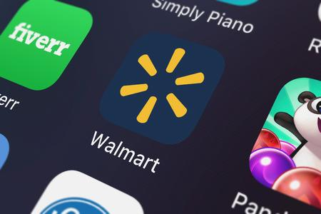London, United Kingdom - October 03, 2018: Icon of the mobile app Walmart – Shopping and Saving from Walmart on an iPhone. Editorial