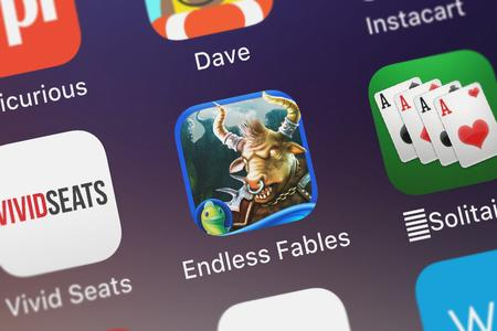 London, United Kingdom - October 05, 2018: Screenshot of the Endless Fables: The Minotaurs Curse - Hidden mobile app from Big Fish Games, Inc icon on an iPhone.