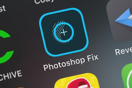 London, United Kingdom - October 05, 2018: Screenshot of the Adobe Photoshop Fix mobile app from Adobe icon on an iPhone.